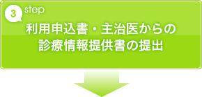 step3 利用申込書・主治医からの診療情報提供書の提出